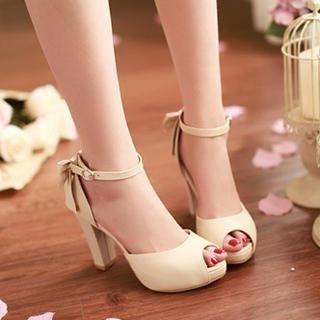 77Queen - Bow-Accent Ankle-Strap Platform Sandals