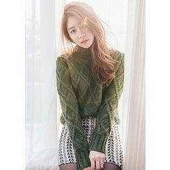 Chlo.D.Manon - Mock-Neck Waffle-Knit Sweater