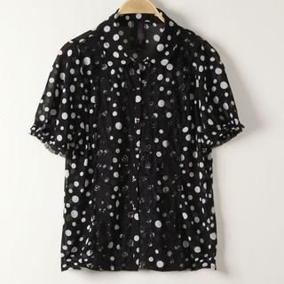 JVL - Lace-Trim Dotted Chiffon Blouse