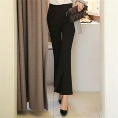 Styleonme - Semi Boot-Cut Pants