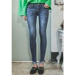REDOPIN - Frey-Hem Skinny Jeans