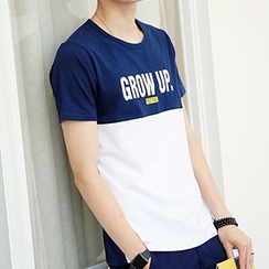 Really Point - Lettering Two-Tone Short-Sleeve T-Shirt