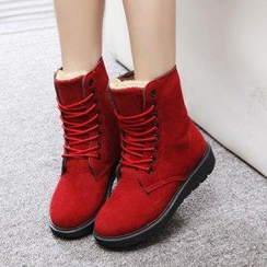 Solejoy - Fleece-Lined Lace-Up Short Boots