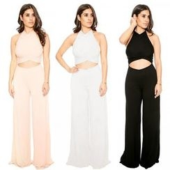 Hotprint - Cut Out Front Halter Jumpsuit