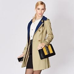 O.SA - Contrast-Collar Layered Trench Coat