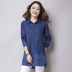 Romantica - Half-Placket Denim Blouse