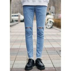 JOGUNSHOP - Cut-Off Detailed Skinny Jeans