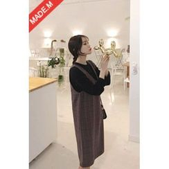 MICHYEORA - V-Neck Sleeveless Plaid Midi Dress