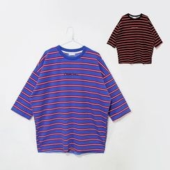 Mr. Cai - Lettering Striped T-Shirt