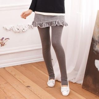 RingBear - Inset Houndstooth-Skirt Stirrup Leggings