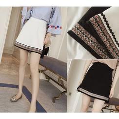 YOSH - Embroidered Panel A-line Skirt