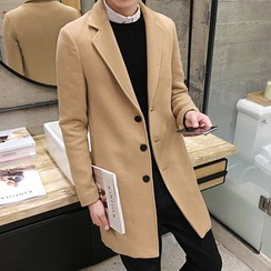 Pinth - Notch Lapel Long Woolen Coat