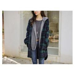 JUSTONE - Set: Wool Blend Plaid Long Shirt + Hooded Vest