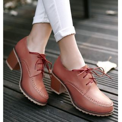 TULASI - Brogue Chunky Heel Oxfords