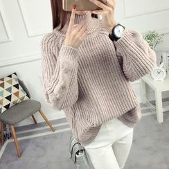 anzoveve - Chunky Knit Turtleneck Sweater