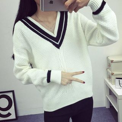 Fashion Street - Striped V-Neck Sweater