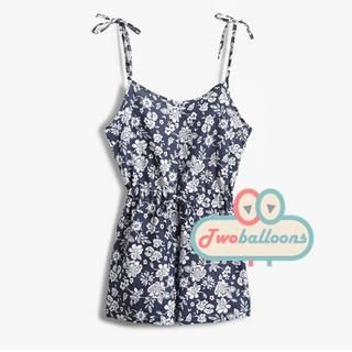 JVL - Tie-Shoulder Open-Back Floral Playsuit