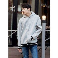 GERIO - Hooded Contrast-Trim Lettering Sweatshirt