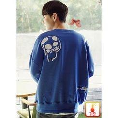 JOGUNSHOP - Fleece-Lined Embroidered Sweatshirt