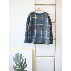 STYLEBYYAM - Wool Blend Check Knit Top