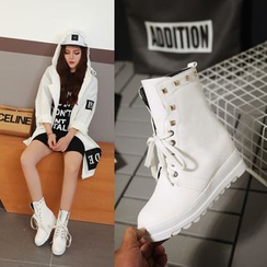 Shoes Galore - Studded Lace-Up Short Boots