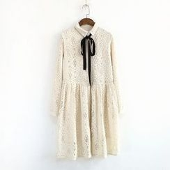 Ranche - Lace Long-Sleeve Shirtdress