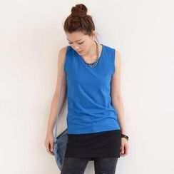 SO Central - Sleeveless Padded-Shoulder Color-Block Tunic