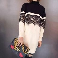 Tulander - Lace Panel Two-Tone Knit Dress