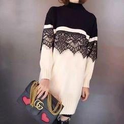 Tulander - 蕾丝拼接双色针织连衣裙