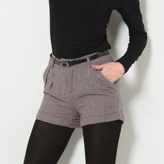 YesStyle Z - Cuffed Houndstooth Shorts with Belt