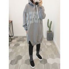 STYLEBYYAM - Logo-Print Hooded Pullover Dress