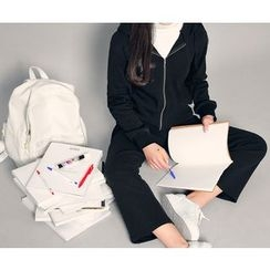 HOTPING - Set: Cotton Hoodie + Band-Waist Pants