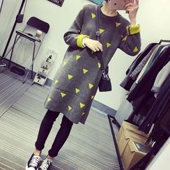 A7 SEVEN - Triangle Pattern Knit Dress