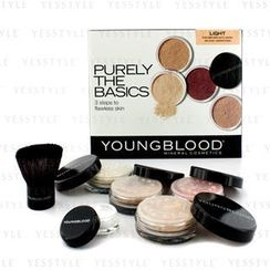 Youngblood - Purely The Basics Kit - #Light (2xFoundation, 1xMineral Blush, 1xSetting Powder, 1xBrush, 1xMineral Powder)