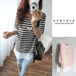 CYNTHIA - Chiffon Layered Stripe Top