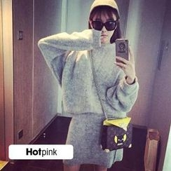 Hotpink - Set: Mock-Neck Sweater + Pencil Skirt
