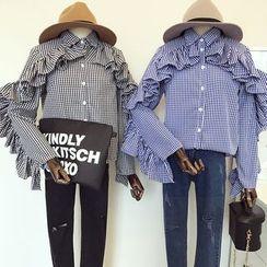 DIYI - 条纹翻领荷叶袖衬衫