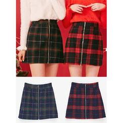 icecream12 - Zip-Front Check Mini Skirt