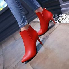 YOUIN - 仿皮高跟及踝靴