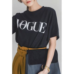 migunstyle - Round-Neck Lettering T-Shirt