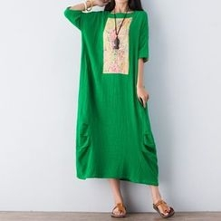 Hummingbird - Floral Print Embroidered Elbow Sleeve T-Shirt Dress