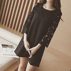 Fashion Street - Perforated 3/4 Sleeve Mini Dress