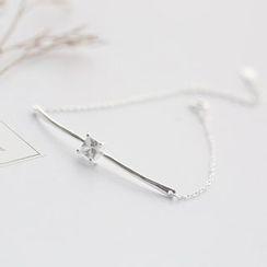 Love Generation - Rhinestone Bar Sterling Silver Bracelet