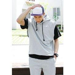 HOTBOOM - Set: Hooded Cap-Sleeve Top + Sweat Shorts