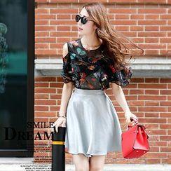 Romantica - Set: Cutaway-Shoulder Top + A-Line Skirt