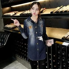 Jiuni - Letter Denim Jacket