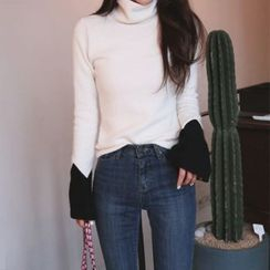 DABAGIRL - Turtle-Neck Contrast-Cuff Knit Top
