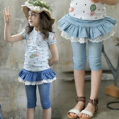 Seashells Kids - Kids Inset Lace Trim Denim Skirt Capri Leggings