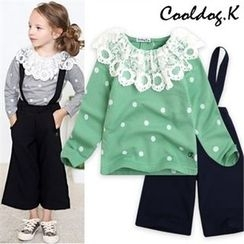 WALTON kids - Kids Set: Lace-Detail Polka Dot-Pattern Top + Pants with Suspenders