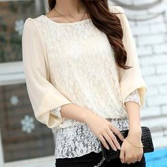 Cobogarden - Long Sleeved Lace Panel Chiffon Top